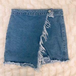 Boom Boom Jeans Denim Wrap Fringe Skirt
